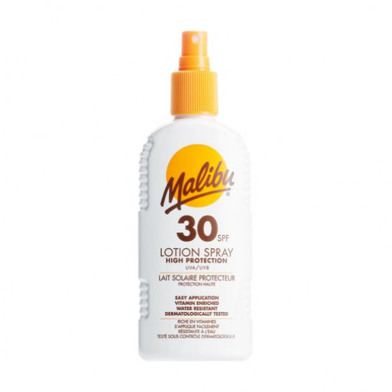 Malibu SPF 30 lotion spray high protection water resistant 200ml